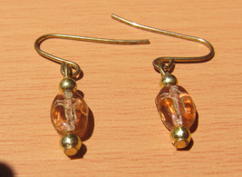Pink Clear Glass Cross Bead Pierced Earrings Handmade By Me - $4.97