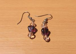 Purple & Pink Clear Glass Bead Sterling Silver Pierced Earrings Handmade... - $9.97