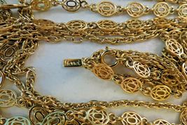 """Monet Necklace Multi Chain Long 51"""" Designer Gold Plated Oval Links NICE Cond image 3"""