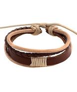Punk 5.4cm Men's coffee Leather Leather Bracelet - $11.95