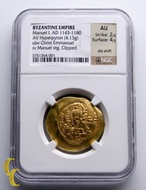 Manuel I 1143-1180 A.D. Gold Hyperpyron Byzantine Empire Coin Graded by ... - $1,188.00