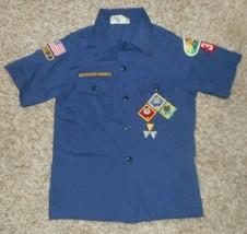 Vintage Boy Scouts Of America Blue Uniform Shirt W/ Patch Youth Medium Missouri - $64.52