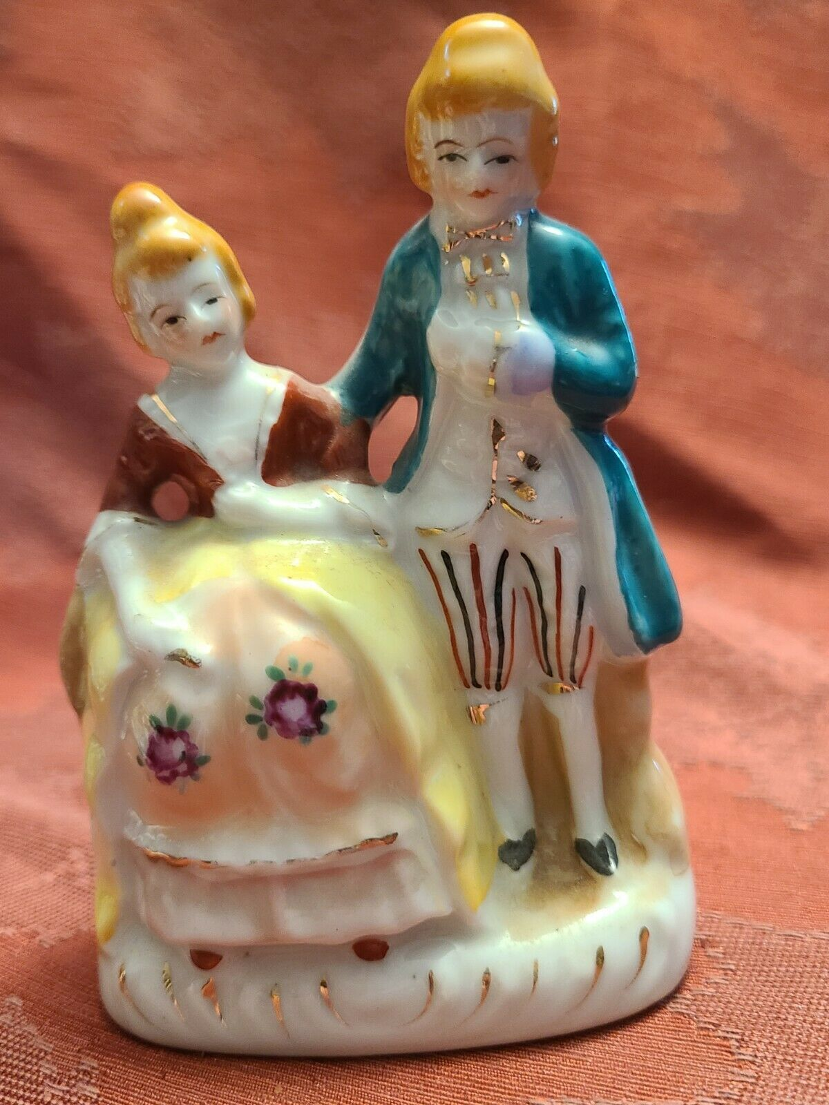 Vintage Porcelain Figurine - Victorian Man and Woman - Made in Occupied Japan 4""