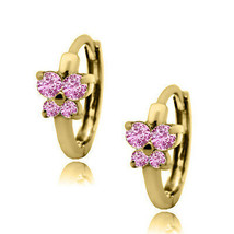 Womens Stylish 14k YG October Birthstone Pink Sapphire Huggie Butterfly ... - $98.98