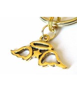Gold Pair of Angel Wings Key Chain with Wings, Star, and Halo Charm - $9.00