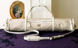 Vintage MCM Quilt Leahter Yoga Mat bag Beige Cream Authentic - $370.00