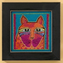 Wild Orange Cat linen cross stitch kit Laurel Burch Mill Hill - $16.20