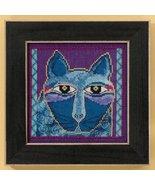 Wild Blue Cat linen cross stitch kit Laurel Bur... - $16.20
