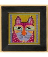 Wild Pink Cat linen cross stitch kit Laurel Bur... - $16.20