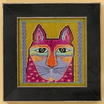 Wild Pink Cat aida cross stitch kit Laurel Burch Mill Hill - $16.20