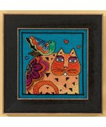 Feathered Friends Cat linen cross stitch kit La... - $16.20