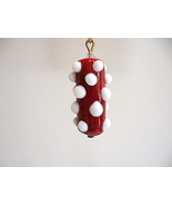 Bumpy Astro Red White Lampwork Bead Fan Lamp Pu... - $5.00