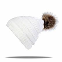 Women's Pom Pop Ski Cap Knitted Beanie Cap With Thicker Cashmere Warm Wi... - $15.73