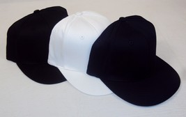 Flat Bill Cap ~ 100% Polyester 6 Panel ~ 2 Sizes / Choice of Black, Navy... - $9.75+
