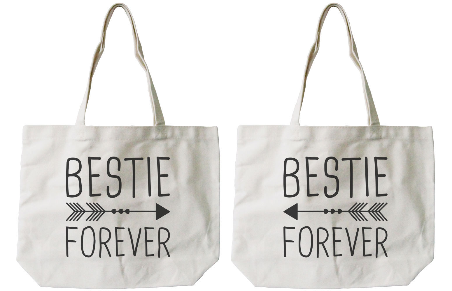 Bestie Forever BFF Matching Cotton Canvas Tote Bags - Eco Bags, Book Bags