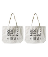 Bestie Forever BFF Matching Cotton Canvas Tote Bags - Eco Bags, Book Bags - $30.99