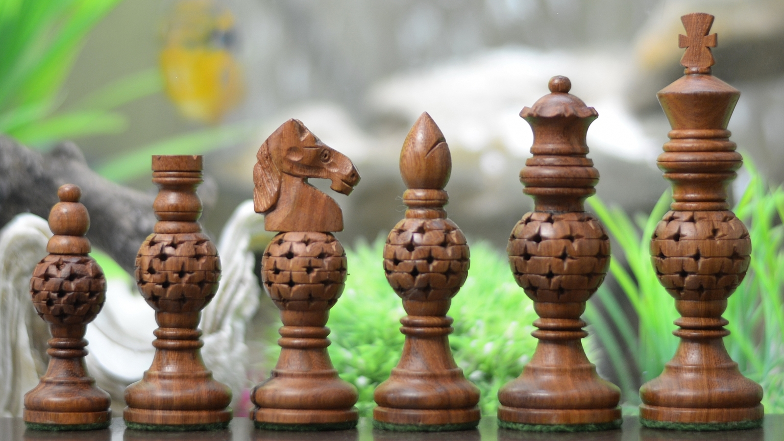 """Spherical Jali Wooden Chess Pieces in Sheesham/Box Wood - 4.40""""King - SKU: M0014"""