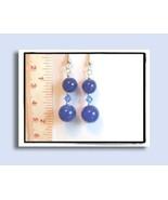 Sri Lanka Sapphire Earrings w/Swarovksi Crystals - $8.50