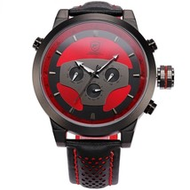 Creative Sport Men's Wrist Watch Red Black Leather Band Quartz Date 2 Ti... - $136.12 CAD