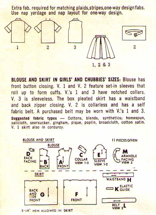 1963 BLOUSE & SKIRT Pattern 5294-s Girl Size 8 - UNCUT