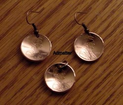 1990 Penny Earring &  Pendant Set Coin Jewelry  25th Birthday Anniversary  Gift! - $12.86