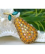 Vintage Pear Fruit Brooch Pin Rhinestone Gold Aurora Borealis - $49.95