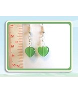 Green Mexican Opal Heart Earrings w/Swarovski Crystals - $7.50