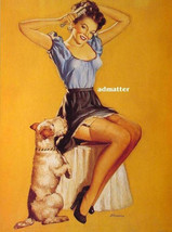 Edward D'ancona Pinup Girl Poster! Sexy Photo Print Art With Puppy Dog Begging - $8.90