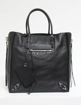 New $1765 Balenciaga Papier Veau Black Leather A5 Zip Around Tote Bag - $1,272.04