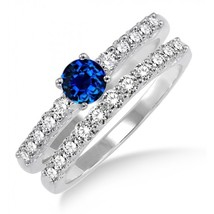 1.5 Carat Sapphire and Simulated Diamond Elegant Bridal Set on 14k White Gold - $99.99