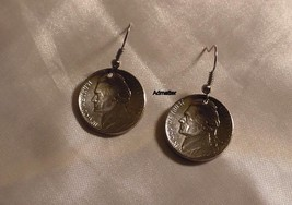 1988 Jefferson Nickel Earrings Domed Coin Jewelry 27th Birthday Anniversary Gift - $9.89