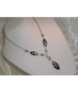 Art Deco Revival Necklace 925 Sterling Silver Marcasite Blue Goldstone L... - $129.95
