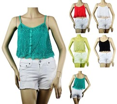 Floral Lace V Neck Crop Spaghetti TANK TOP w/Stretch Adjust Strap Layering SML - $12.99