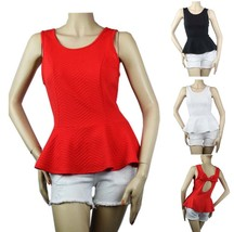 Scoop Neck Sleeveless Peplum Blouse W/ Key Hole,Bow Tie,Stretchy Casual Top Sml - $19.99