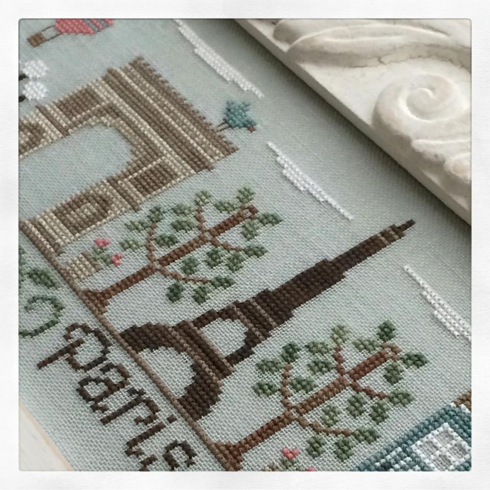 afternoon in paris cross stitch chart country cottage