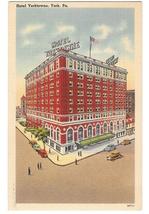 York PA Hotel Yorktowne Vintage Tichnor 1949 Linen Postcard  - $4.99