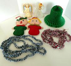 Vintage Christmas Decorations 7 Piece Estate Lot Angel Tree Toppers Foil... - $32.89