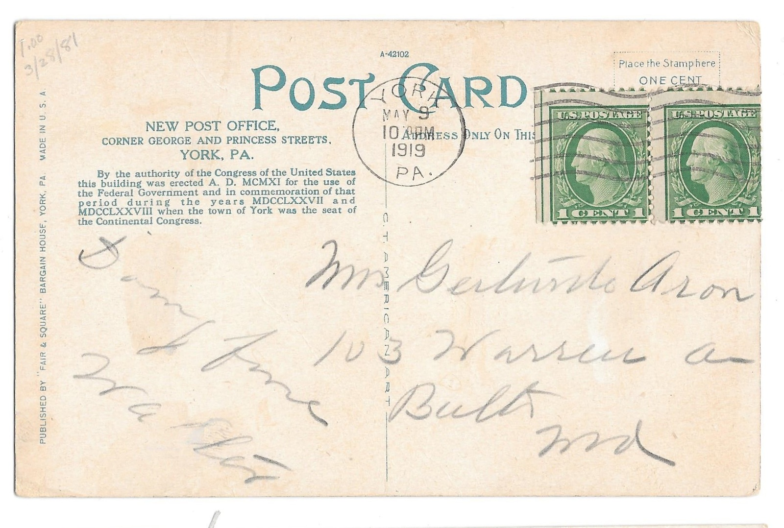 York PA New Post Office Vintage 1919 Fair and Square Postcard