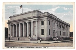 York PA New Post Office Vintage 1919 Fair and Square Postcard - $4.99