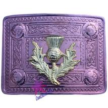 CC Men's Celtic Kilt Belt Buckle Thistle Copper Antique/Celtic Kilt Belt... - $11.74