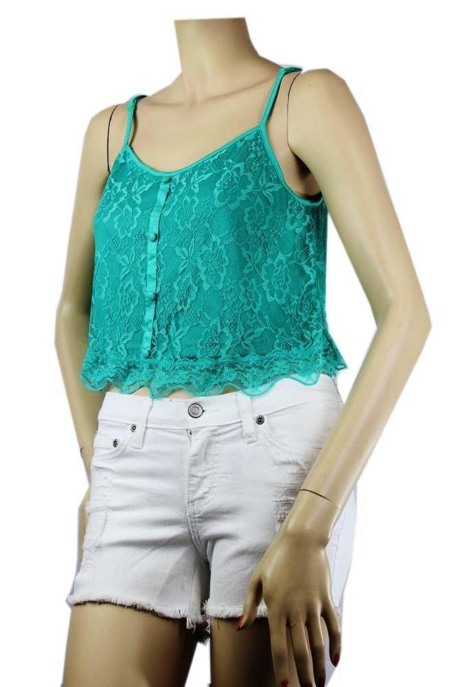 Floral Lace V Neck Crop Spaghetti TANK TOP w/Stretch Adjust Strap Layering SML