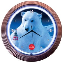 "Coca-Cola Polar Bear Neon Clock 15""x15"" - $69.00"