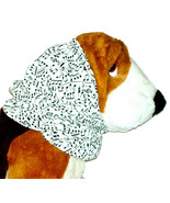 Dog Snood-Black Music Notes on White Cotton-Afghan-Spaniel- Puppy REGULAR - $10.50
