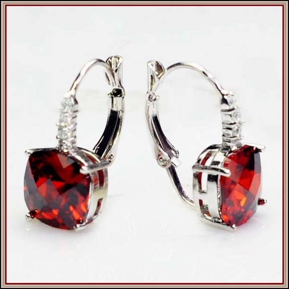 Ruby Red Gemstone Prong Set 18k White Gold with Crystals Drop Pierced Earrings