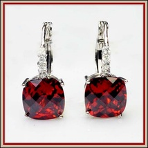 Ruby Red Gemstone Prong Set 18k White Gold with Crystals Drop Pierced Earrings  image 2
