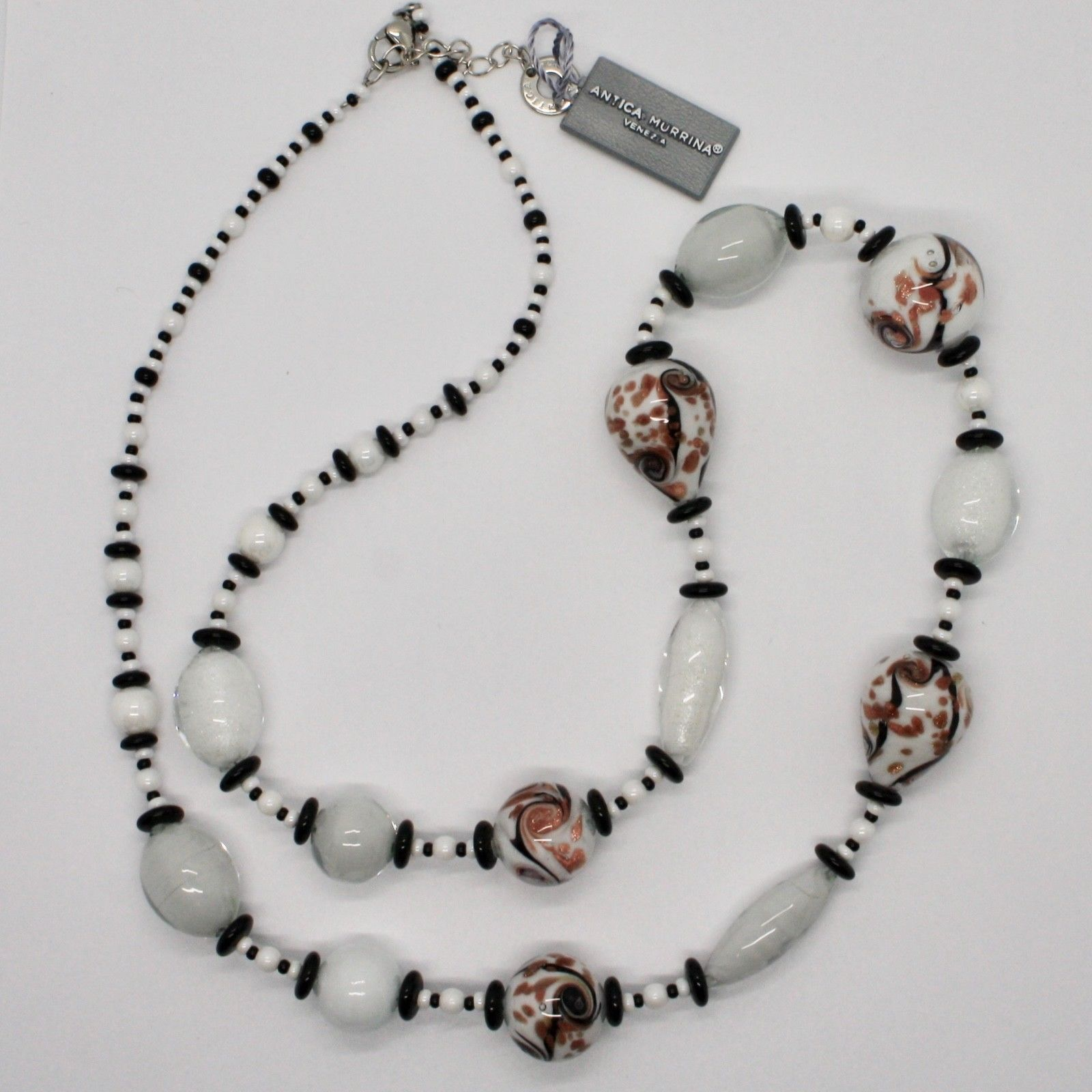 ANTICA MURRINA VENEZIA NECKLACE WITH MURANO GLASS WHITE BLACK BRONZE COA88A15