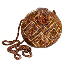 Designer Mary McFadden Evening Clam Shell Beaded Handbag - $89.00
