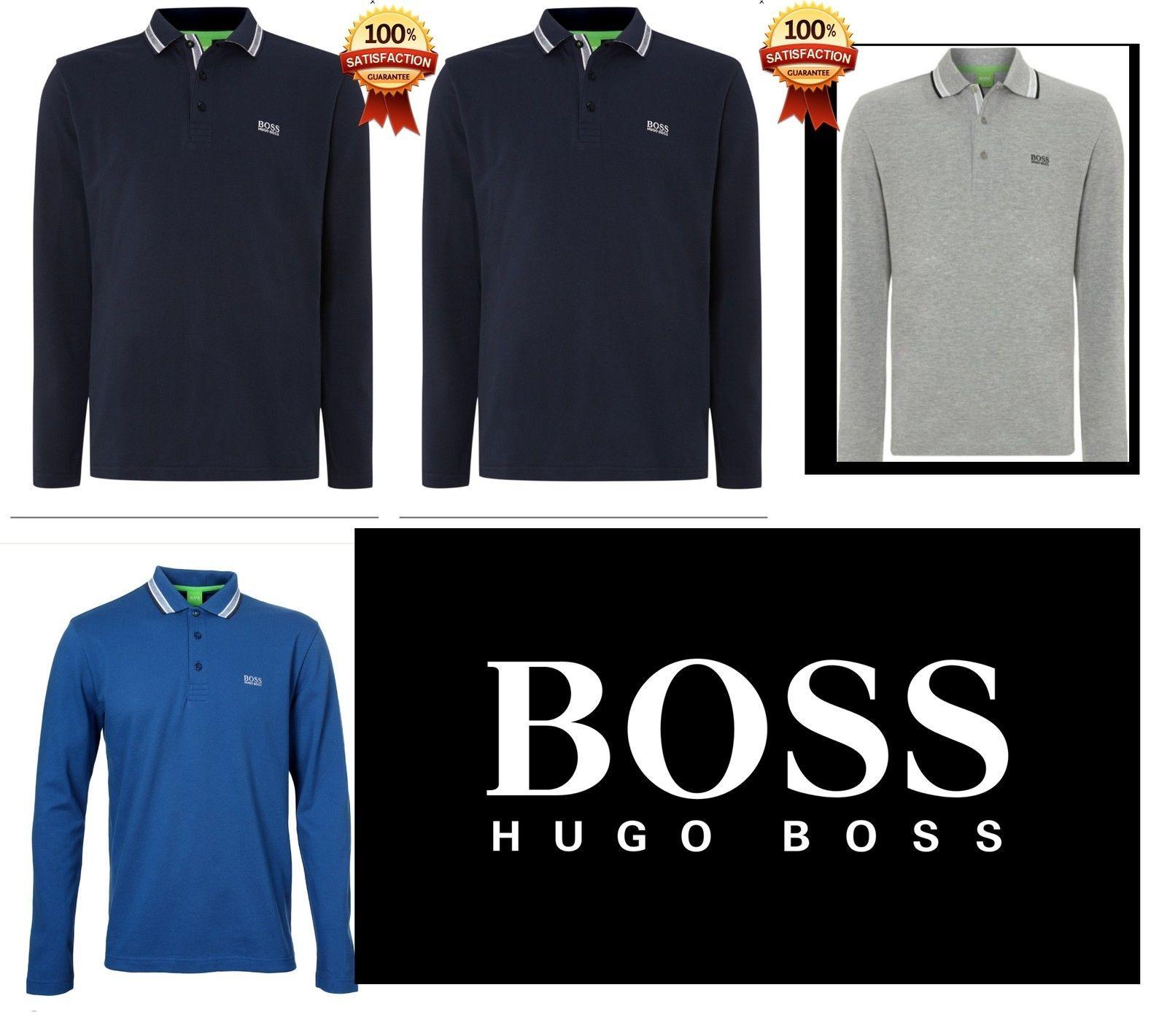 Hugo Boss Long Sleeve Polo Shirt for Men Blue Black Grey White S M L XL XXL
