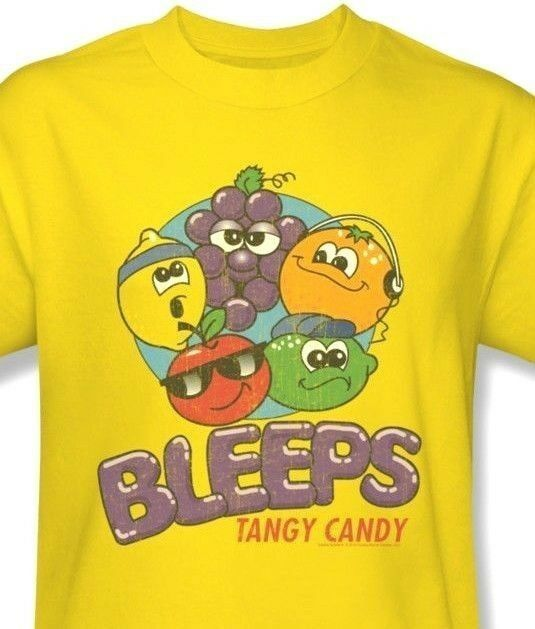 Bleeps T-shirt Sour Fruit Candy retro 80's 100% cotton graphic yellow tee DBL10