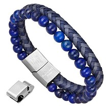 murtoo Mens Bead Leather Bracelet, Blue and Brown Bead and Leather Brace... - $19.44